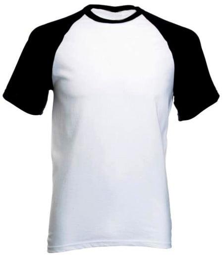 Camiseta Raglan Branca com manga Preta  de Poliéster para Sublimação