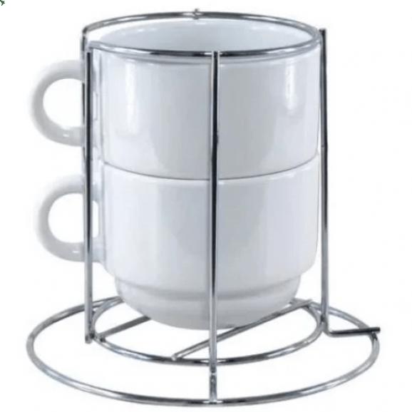 Kit com 2 Xícaras 150 ml com suporte de metal para Sublimação