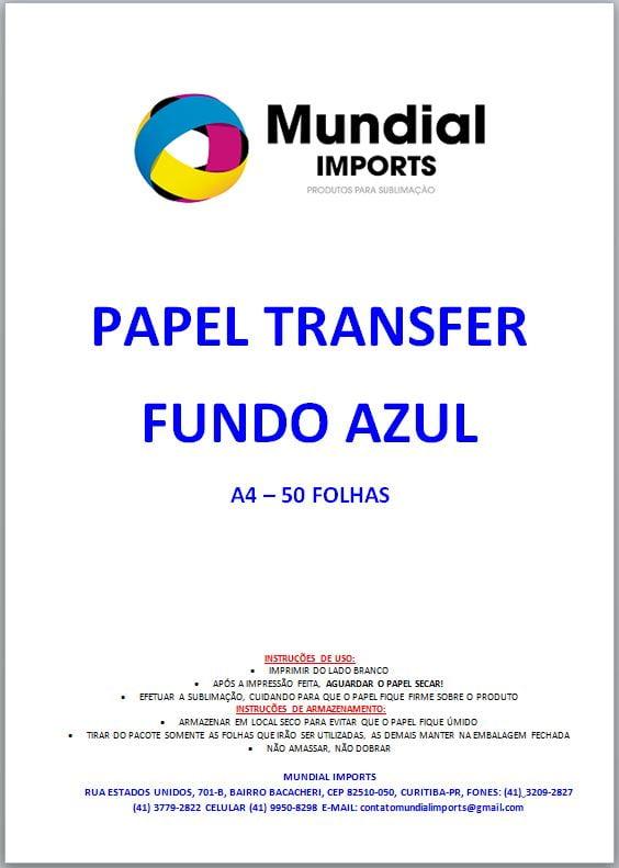 Papel Sublimático A4 Para Transfer FUNDO AZUL - Pacote com 50 folhas