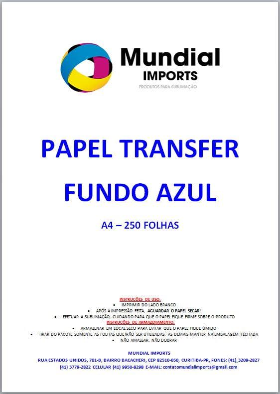 Papel Sublimático A4 Para Transfer FUNDO AZUL - Pacote c/ 250 folhas