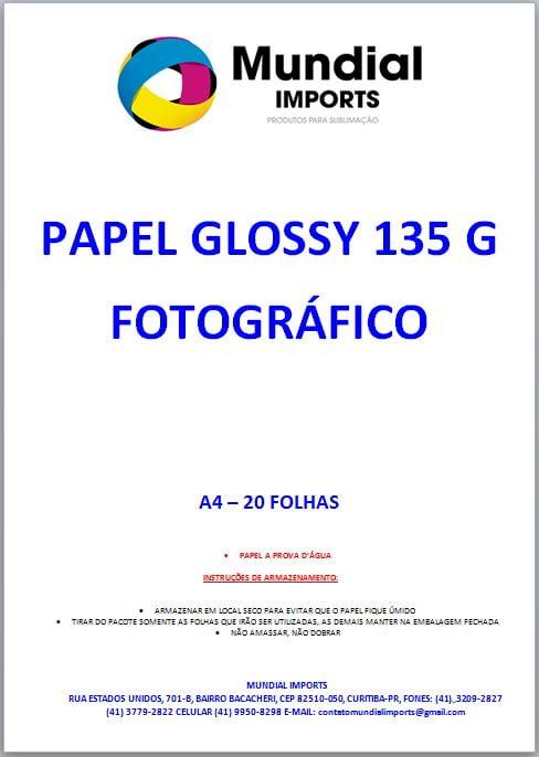 Papel Fotográfico Glossy 135g/A4 - Pacote c/20 folhas
