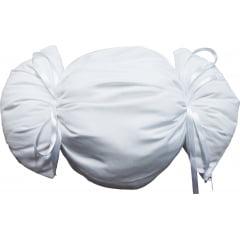 """Almofada formato """"BOMBOM"""" 40cmx30cm Branca - Unidade (CAPA + ENCHIMENTO)"""