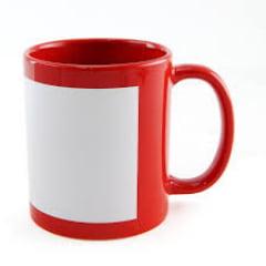Caneca de Cerâmica Vermelha com Tarja Branca - Valor Unitário
