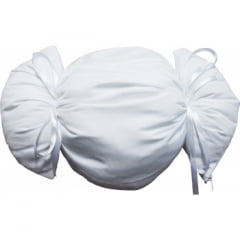 """Almofada formato """"BOMBOM"""" 28cmx17cm Branca - Unidade (CAPA + ENCHIMENTO)"""
