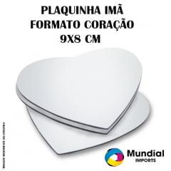 PLAQUINHA IMÃ FORMATO CORAÇÃO PARA SUBLIMAÇÃO 9X8 CM (Valor Unitário)