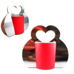 Embalagem SUBLIMÁTICA para Caneca até 330 ml (Tipo bolsa alça coração) - Valor unitário