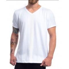 Camiseta Gola V Branca 100% Poliéster para Sublimação