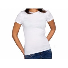 Camiseta Baby Look Branca 100% Poliéster para Sublimação