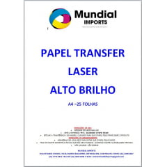 Papel Transfer Laser Para Acrílicos Tamanho A4 Alto Brilho - Pacote com 25 folhas